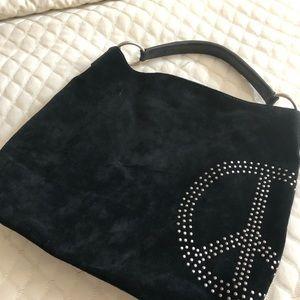 Black suede hobo PEACE shoulder bag